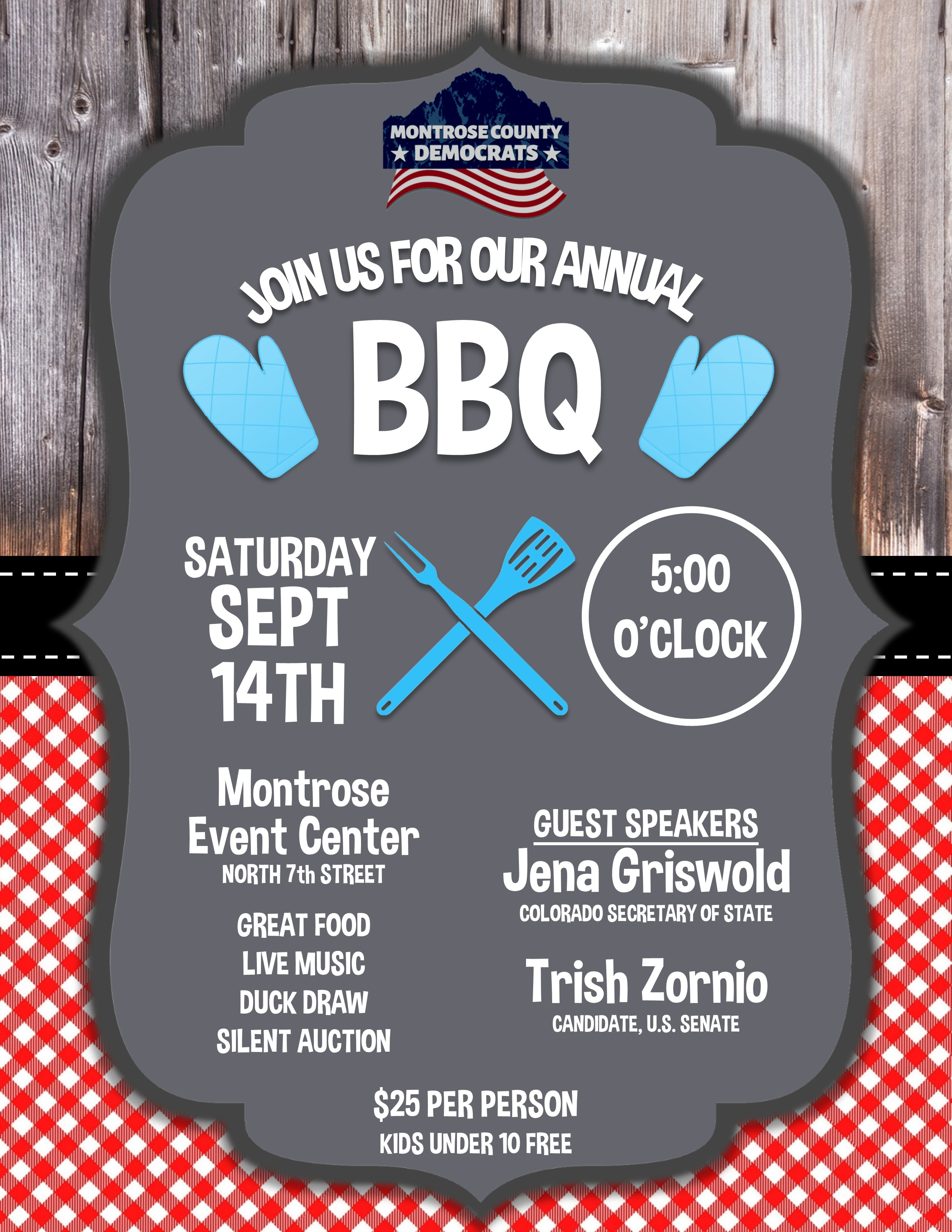 Click to get your tickets now to our annual BBQ on Saturday, September 14, 2019 at Montrose Events Center