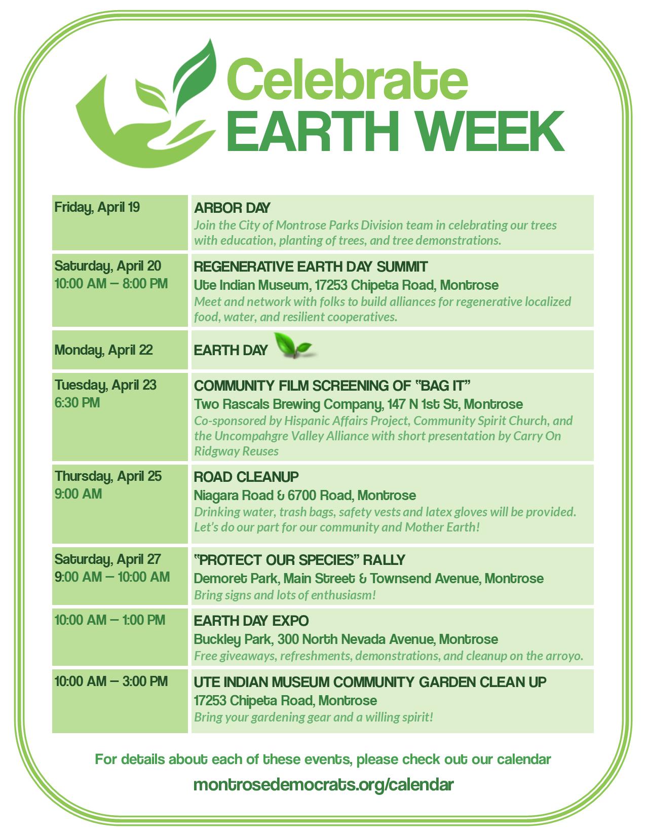 2019 Earth Week Calendar for Montrose, Colorado